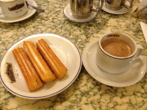 Churros and hot chocolate at Cafe Tortoni
