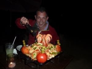 Grilled seafood platter (photo bombed)
