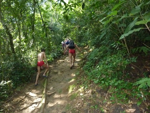 Red speedos and havaianas for the hike