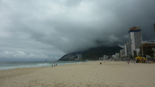 Leblon beach with dark clouds
