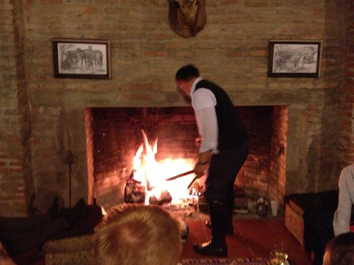 The gaucho cooking our BBQ dinner in the fireplace